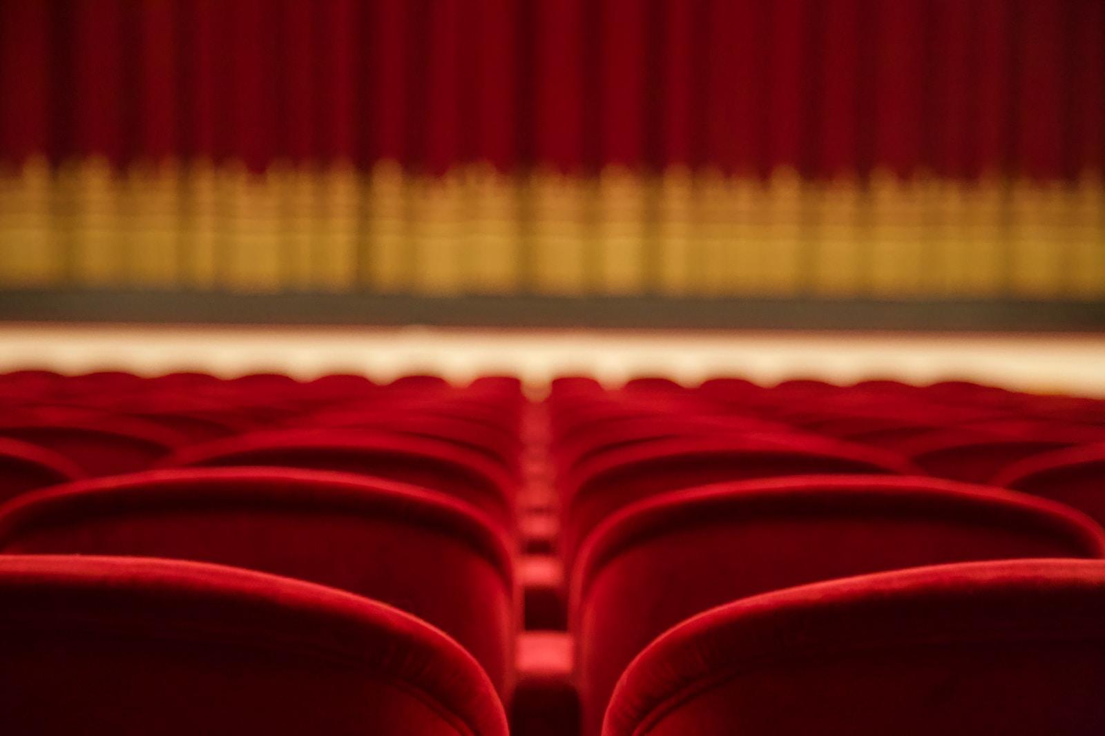 red and white stadium seats